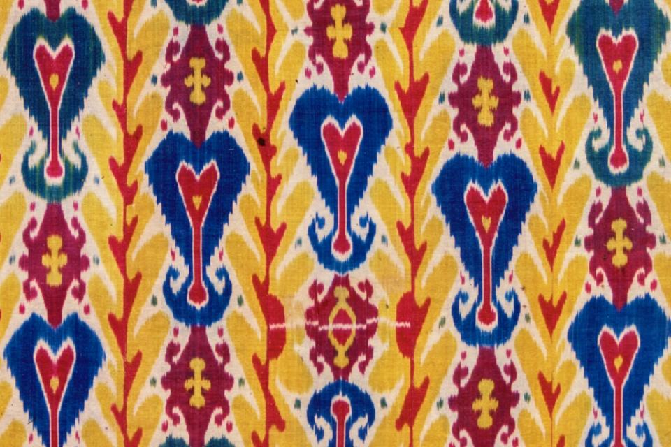 Detail of yellow ikat textile
