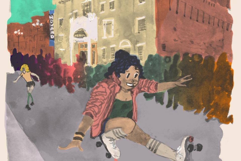 Watercolor of girl roller skating