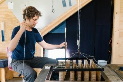Rowland Ricketts in his studio