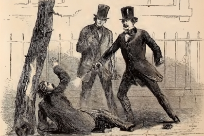 Illustration of one man shooting another man