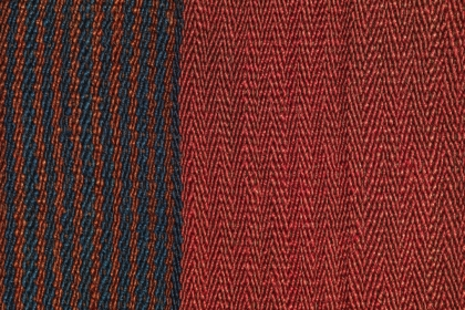 Blue and red woven textile