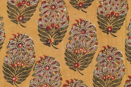 Yellow fabric with block printed floral pattern