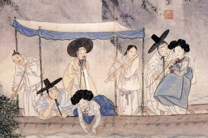 Korean painting with seven figures