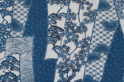 A stenciled pattern of flowers and vines in blue and white