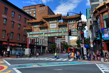 Friendship Archway, a large ceremonial Chinese arch, in Chinatown, Washington D.C.
