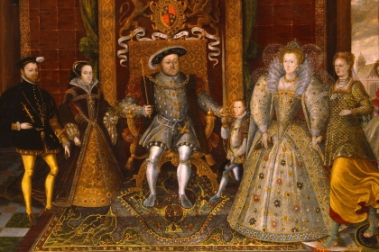 Painting with Henry VIII seated on a throne at the center, a man and woman on his left and his three children on his right