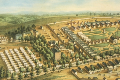 Print of a group of wooden barracks in Washington D.C.